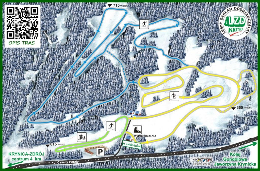 Mapa tras u Leśników w Krynicy-Zdroju